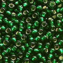 Toho 8/0 Seed Beads Silver Lined Green Emerald 36 - 10 grams